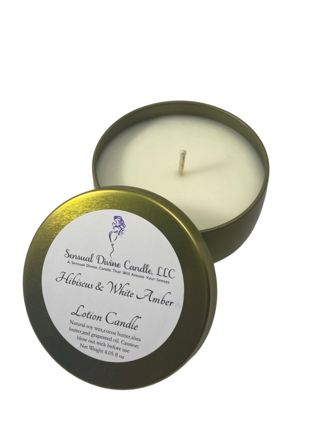 Hibiscus and White Amber  Soy Lotion Candle