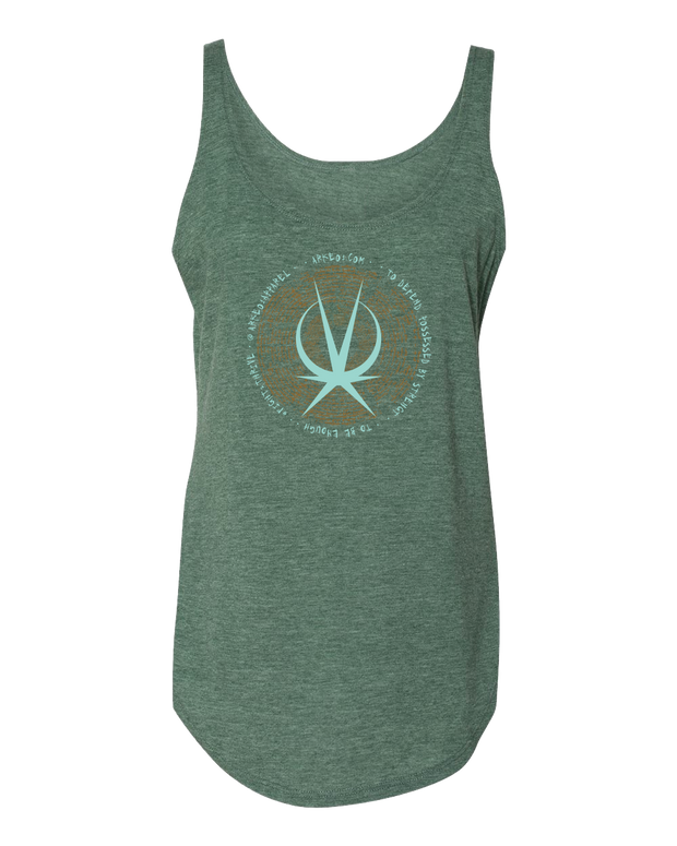 Pine Green tank top printed on the front To defend Possessed by Strength Arkeo1 Icon