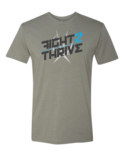 Grey Athletic Fit TShirt Printed on Front Fight 2 Thrive with the Arkeo1 Icon