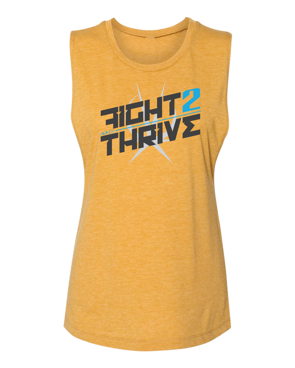 Yellow Sleeveless Tank top Printed on Front Fight 2 Thrive with Arkeo1 Icon