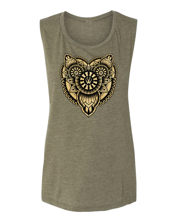 Women's Tattoo Owl Flowy Tank