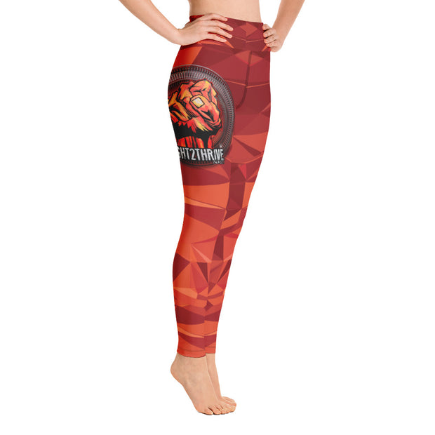 Style—High waist leggings 82/18% Polyester/Spandex Blend Color—Digicamo orange with Fight2Thrive quote and Empower Fist
