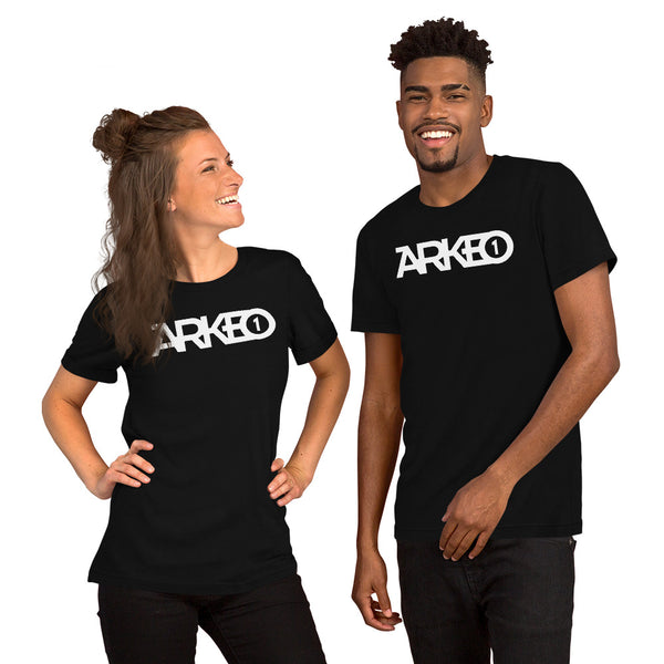 Arkeo1 B&W - Unisex T-Shirt 4.2 oz.(US) 7 oz.(CA), 100% airlume combed and ringspun cotton, 32 singles Front White DTG ARKEO1, Back White DTG Arkeo1 Icon Retail fit Unisex sizing Coverstitched collar and sleeves Shoulder-to-shoulder taping Side seams Tear-away label