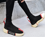 Men's casual flying woven high-top sneakers