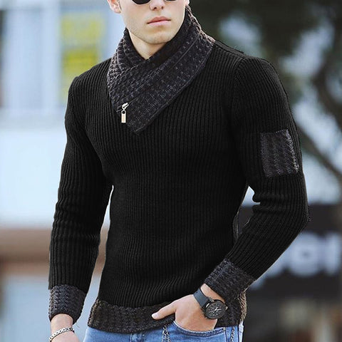 Men's fashionable pure color V-neck knit sweater TT032