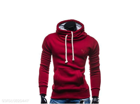 Men's High Collar Solid Color Loose Hoodie 3 Colors