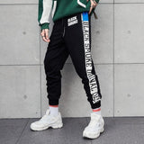 Contrast Stripes Letters Elastic Men's Sweatpants Casual Pants