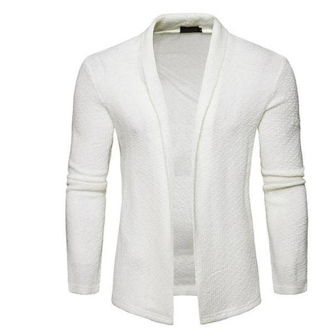 Casual Fashion Youth Slim Plain Long Sleeve Men Knitting Outerwear