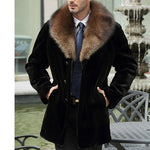 Suede Men's Tidy Long Section Mink Fur Faux Fur Coat