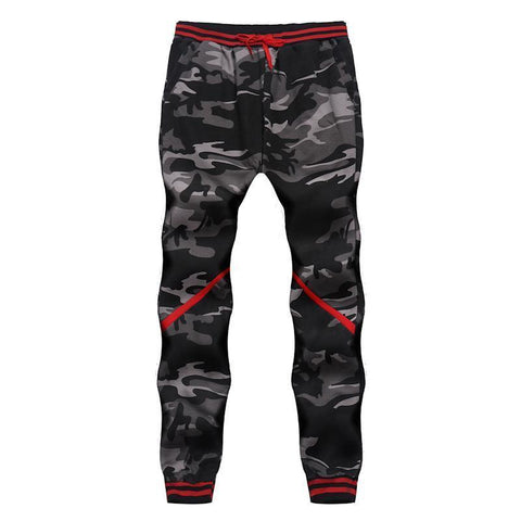 Camo Print Striped-Panel Sweatpants
