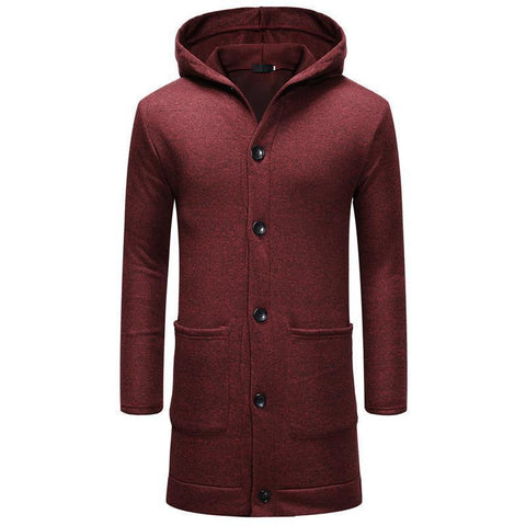 Mens Thickened Long Button Cardigan Coat