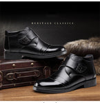 Men Autumn Winter Warm Plush Genuine Leather Snow Boots