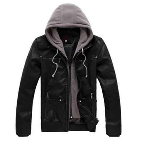 Hooded Patchwork Slim Men's Leather Jacket