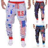 USA Letter Printed Casual Pants