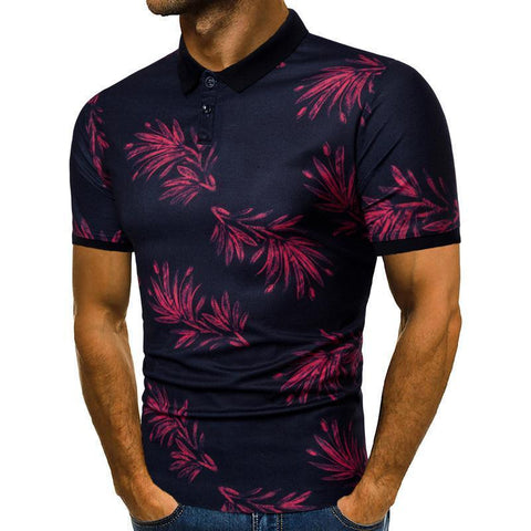 Leaf Print Men's Casual Lapel   Short Sleeve Polo Shirt