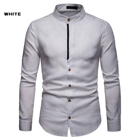 Men's Casual Long Sleeve Linen Round Neck Shirt