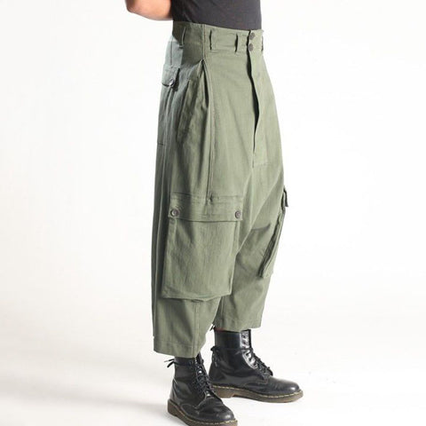Fashion green loose flap pockets long overalls LH025
