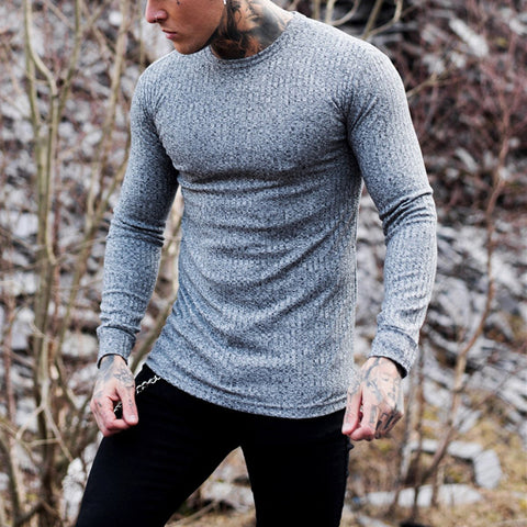 Solid Long-Sleeve Knit T-Shirt