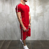Side-Stripe Hip Hop Short Tracksuit Set