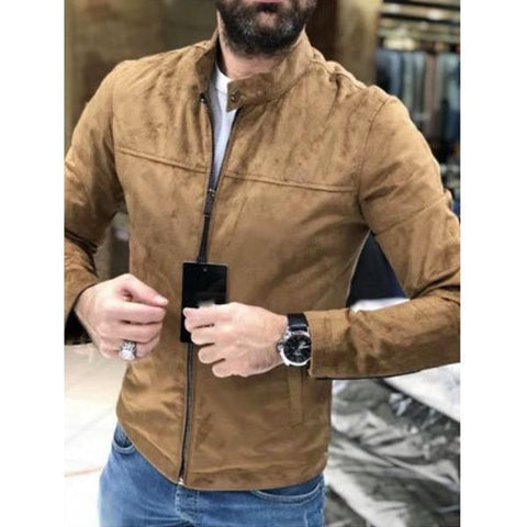 Men's Solid Suede Fabric Stand Collar Jacket