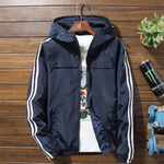 Fashion Men's Striped Hooded Jacket