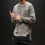 Fashion Men's Ripped Knit Sweater