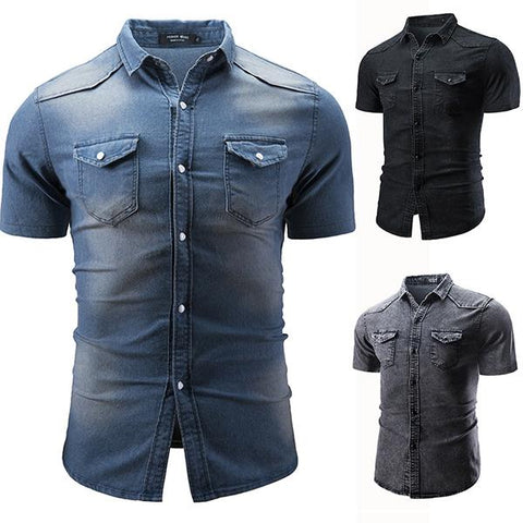 Men's Fashion Slim Short Sleeve Denim Shirt
