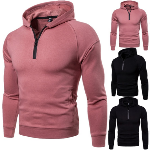 Men's Fashion Minimalist Solid Color Zipper Hoodie