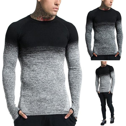 Men's Fashion Gradient Color Bottoming T-Shirt