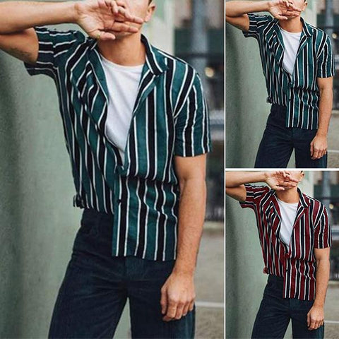 Minimalist Fashion Striped Short Sleeve Shirt