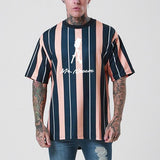 Street Style Colorblock Striped Print Short Sleeve Shirt