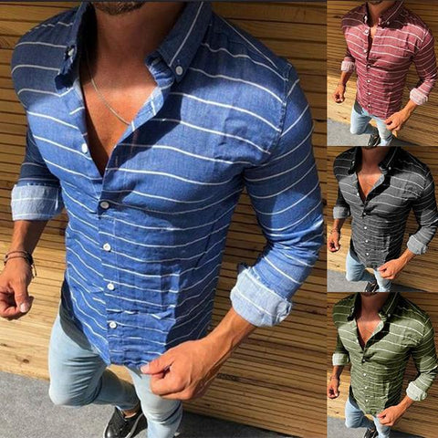 Men's Fashion Solid Color Striped Slim Shirt