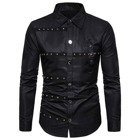 Men's Fashion Punk Style Rivets Solid Color Shirt