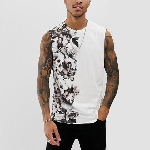 Men's Fashion Colorblock Round Neck Print Vest