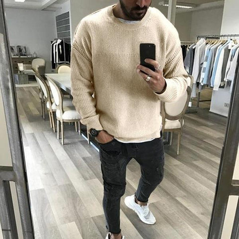 Men's Round Collar Long Sleeved Casual Sweater