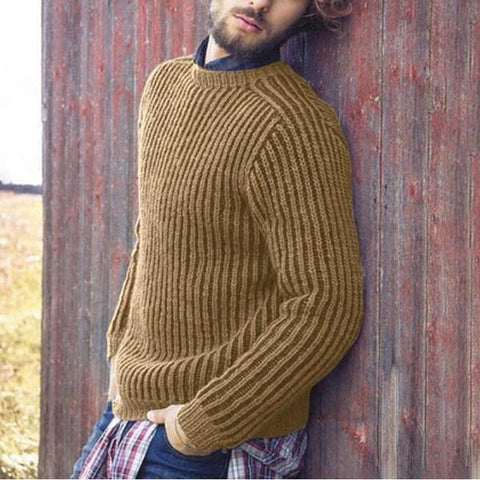Men's Pure-Color Round-Collar Long-Sleeved Sweaters