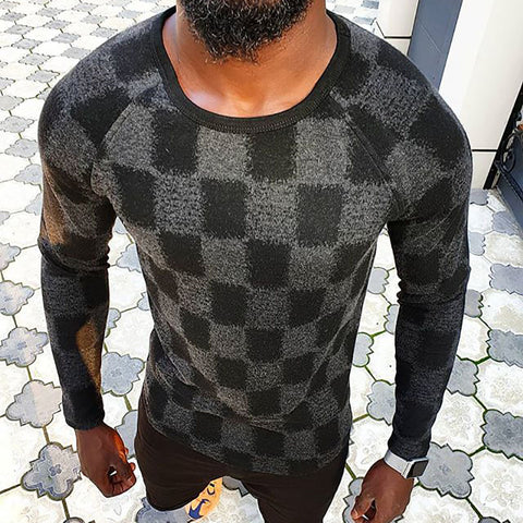 Men's casual round neck geometric patterns loose t-shirt LH014