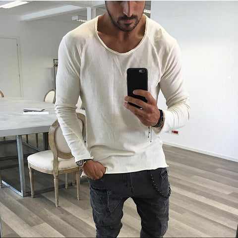 New Men's Simple Raw Edge Casual T-Shirt