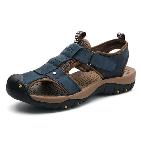 Large-Size Leather Men's Casual Sandals