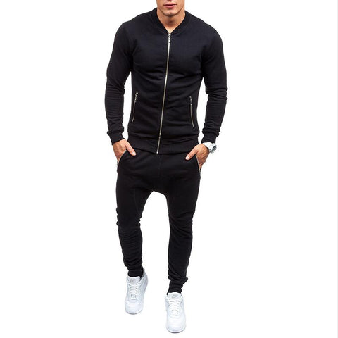 Men Trendy Casual Slim Solid Color Sports Set