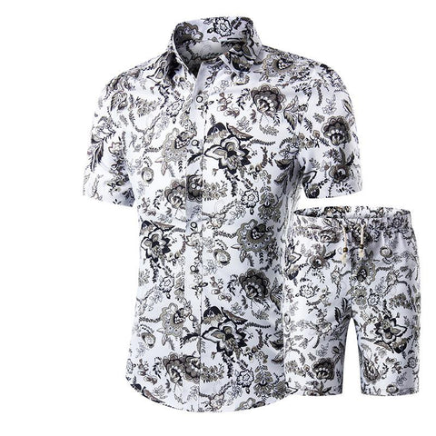 Men's Short Sleeve Slim Casual New Large Size Print Set