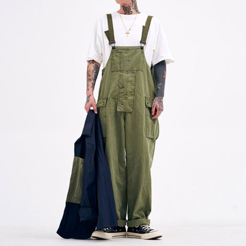 Street Casual Army Green Tooling Sling Jumpsuit LH025