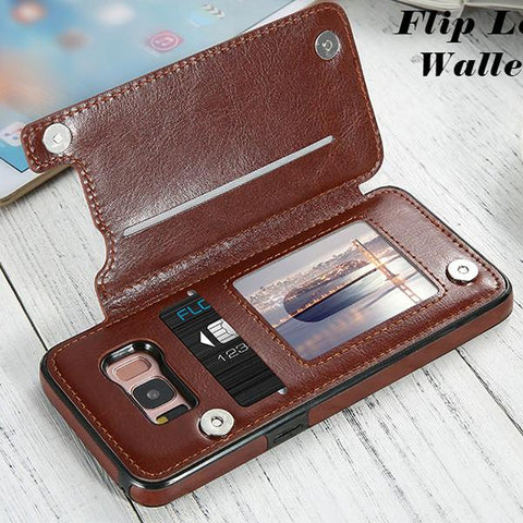 Card Slot Stander Holder Leather Cases For Samsung Galaxy