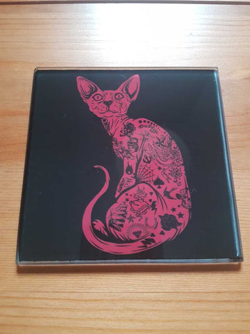 Tattooed cat glass coasters - SocialPariah