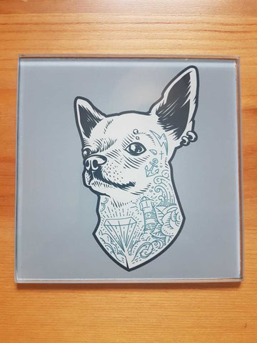 Tattooed dog glass coasters - SocialPariah