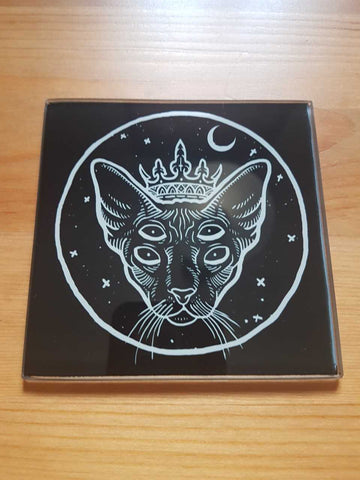 The master black cat glass coasters - SocialPariah