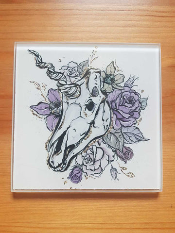 Skull unicorn glass coasters - SocialPariah