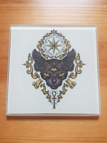 Mystic cat glass coasters - SocialPariah