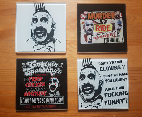 Captain Spaulding glass coasters-mixed designs - SocialPariah