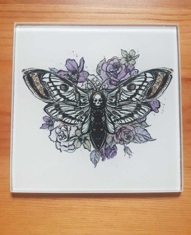 Skull moth glass coasters - SocialPariah